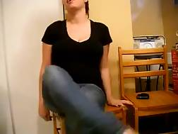 5 min - My wondrous dark haired sits on the chair and flashes her huge melons