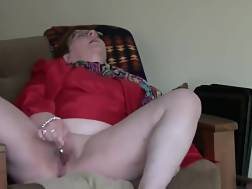 6 min - White grandmother in red coat jerks on home video