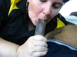 8 min - Fat short-haired MILF blowjob my black schlong in a car