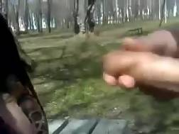 3 min - A girlfriend rubs my dick in a park and shows her big melons to me