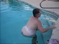 8 min - My elderly wifey demonstrates her big melons in the pool