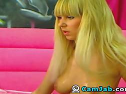 5 min - Lovely Russian blonde nymph shows her natural knockers and nice ass