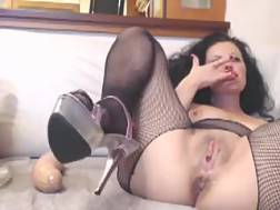22 min - Mature slut in fishnet stockings is jumping on her suction cup fucktoy