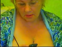 4 min - Light haired bbw grandma on livecam is proud of her big titties