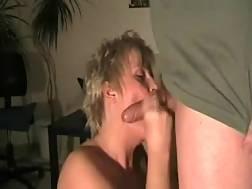 3 min - Short-haired light haired mom feels happy to BJ my schlong