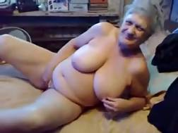 6 min - 75 year old grandma with big jugs jerks for me