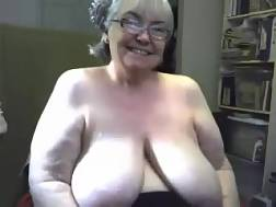 5 min - Blonde granny plays with her natural melons in front of a webcam