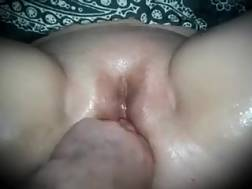 6 min - Huge shaved twat of my fat cougar white wifey oiled up