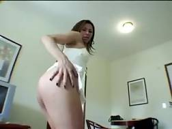 5 min - Home made web cam show with a black haired ladyboy wanking her cock off