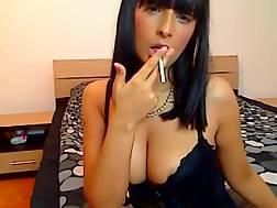 14 min - Sassy dark haired hot babe smokes on live cam & masturbates