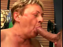 6 min - Short-haired grandma blowjob my sappy dick until she gets a facial