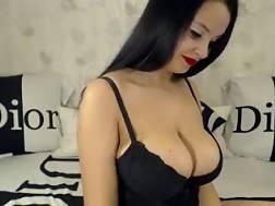 5 min - European boobed brunette mamma teases me on livecam in hot dress