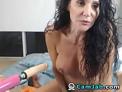 6 min - Huge boobs mother Plays & penetrates a big toy
