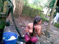 16 min - Incredibly naughty bitch with saggy jugs loves outdoor bathing