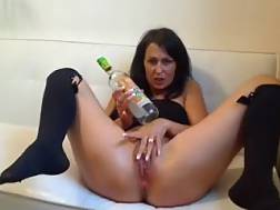 5 min - Filthy and passionate German brunette on webcam uses a bottle