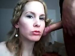 4 min - Freaky white blond puts lipstick and enjoys blowing my cock