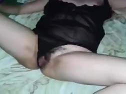 4 min - My hairy latina slut wanks while watching sex