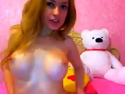 6 min - Pretty red-haired teen plays with her cool boobies in webcam show