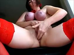 3 min - Naughty and busty white mature lady in BDSM solo action