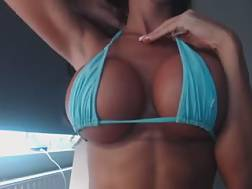 3 min - Showing my terrific new hooters on camera and fondling my nipples