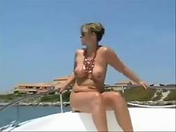 3 min - Outdoor solo movie with my mature wifey exposing her body on a yacht