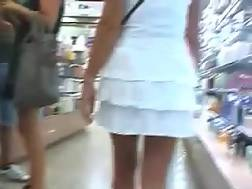 2 min - My depraved girlfriend flashes her pierced twat for the cam in a shop