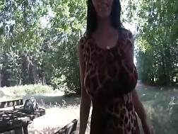 4 min - Penetrating my boobed girlfriend on a table in the woods