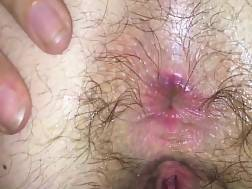 4 min - Gf stretches her unshaved asshole as wide as possible