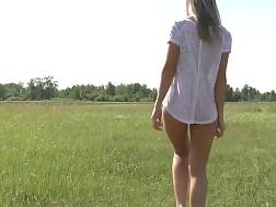 5 min - Slender nymph posing outdoors in the field
