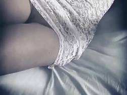 2 min - Chick in white dress without panties masturbation