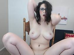 5 min - Hot amateur babe with curly hair and amazing knockers dildoing