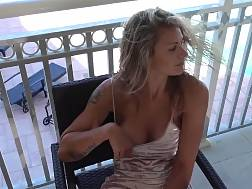 5 min - Sexual light haired spreading her legs on the balcony & jerking