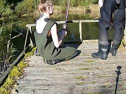 4 min - Amateur couple goes fishing & drilling at the same time