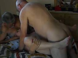 8 min - Shaved old girlie fucking her old hubby on the bed