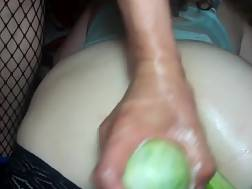 10 min - Wifey In Stockings Receives Cucumbers Up Her Stretched twat