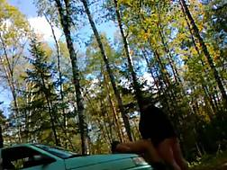 3 min - Girlie Gets Bent Over A Car In The forest