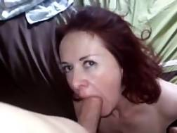 2 min - Superb red-haired mamma blowing a fat pecker nice & slow