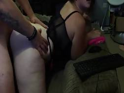 3 min - Curvy wife types while her guy rams her from behind