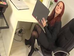 7 min - Sexy red-haired secretary blow job pecker & gets both holes banged