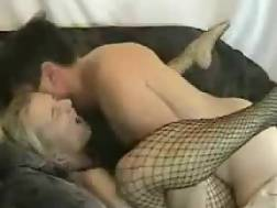 7 min - Sweet light haired in fishnet body suit deep banged on the sofa