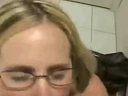 8 min - Nasty mom in glasses blows & takes a facial