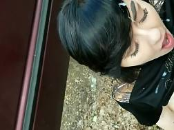 2 min - Black haired girl likes to sucks a dick outdoors