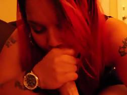 7 min - Red-haired beauty enjoys to blow a long dick