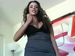 5 min - Awesome curly long haired brunette brags of her big boobs on my cam
