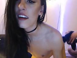3 min - Skinny amateur nymph banged & facialized on web cam doggy style