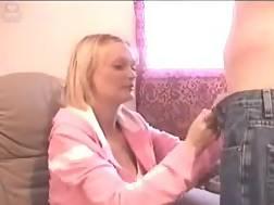 7 min - Slutty blond mamma BJ a cock and takes a facial cum shot