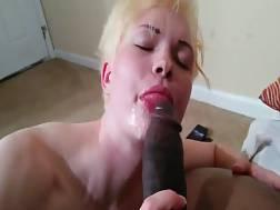 2 min - White nymph licking my black ballsack & eating all the sperm