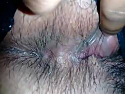 1 min - Recording of a very hairy mature vagina in black thongs
