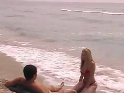 16 min - Blonde girlie riding beach