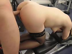 5 min - She wears stockings for anal xxx in the gym